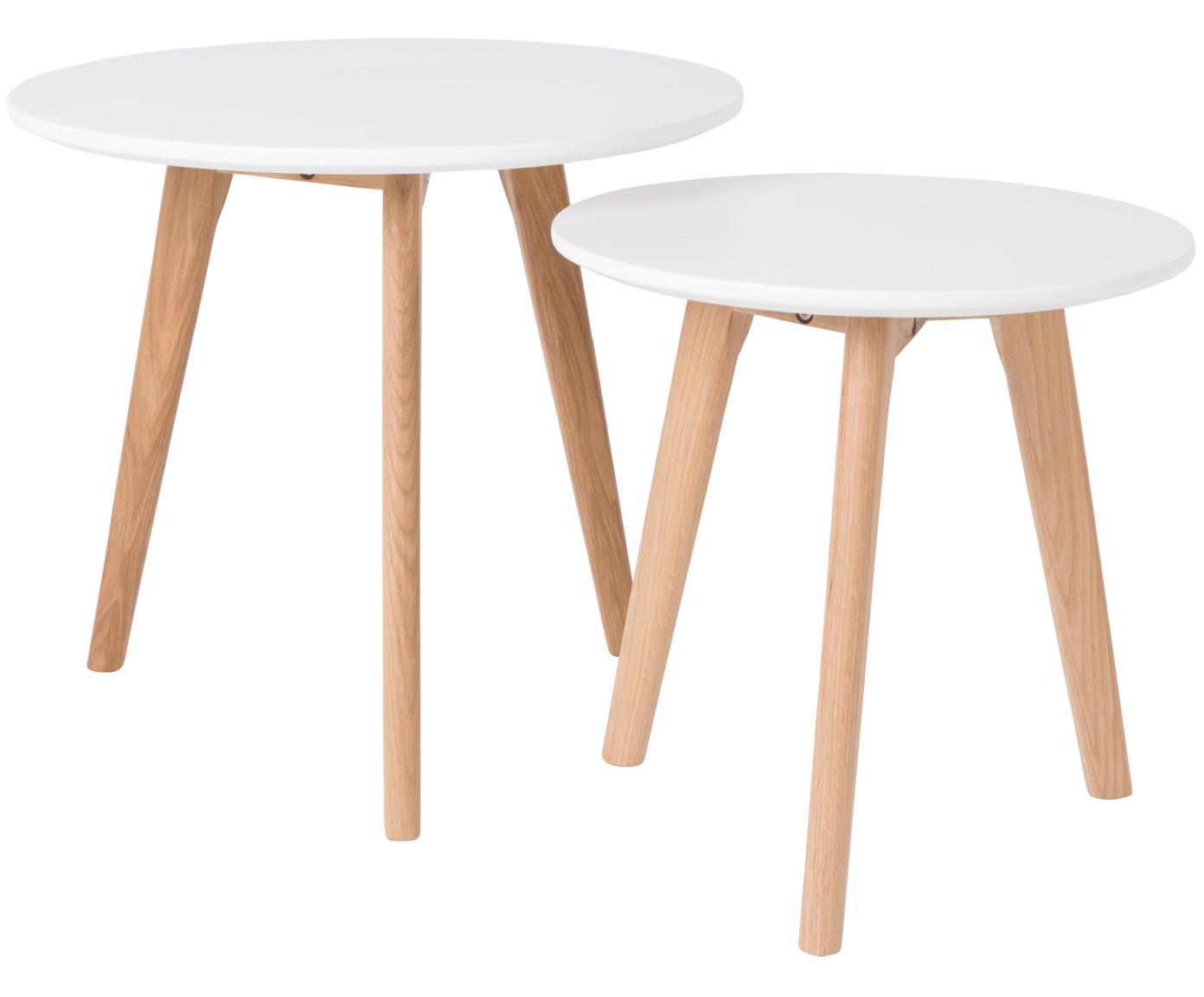 Set 2 tavolini scandi Bodine, Piano d'appoggio: Pannello di fibra a media, Gambe: legno di quercia massicci, Bianco, Diverse dimensioni
