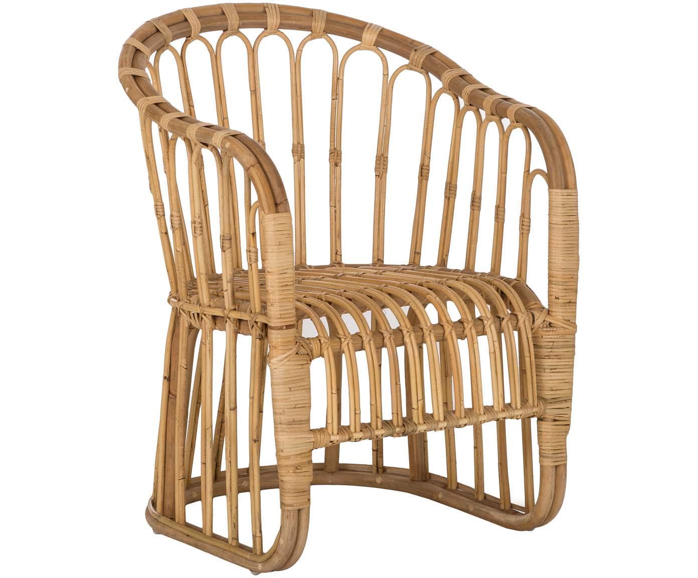 Sedia con braccioli in vimini  Palma, Rattan, Rattan, Larg. 60 x Alt. 65 cm
