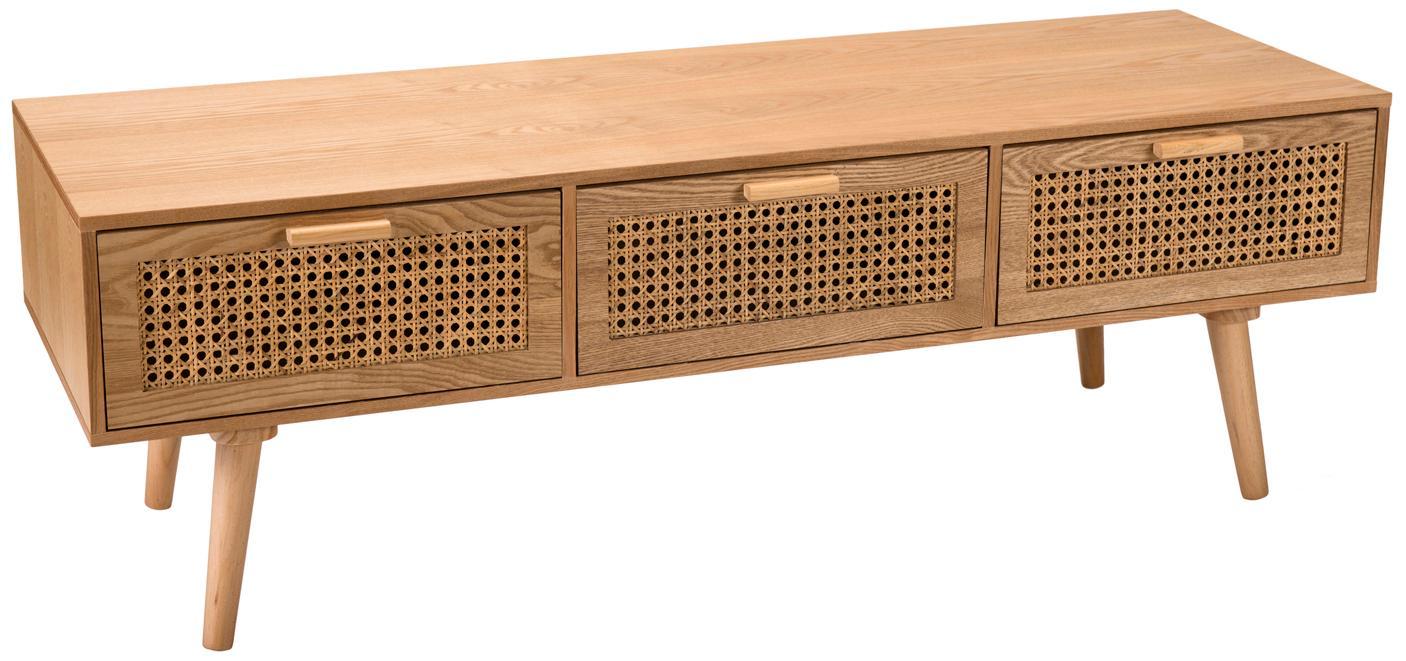 TV-Konsole Romeo aus Holz mit Wiener Geflecht, Mitteldichte Holzfaserplatte (MDF), Eschenholzfurnier, Eschenholz, 120 x 40 cm