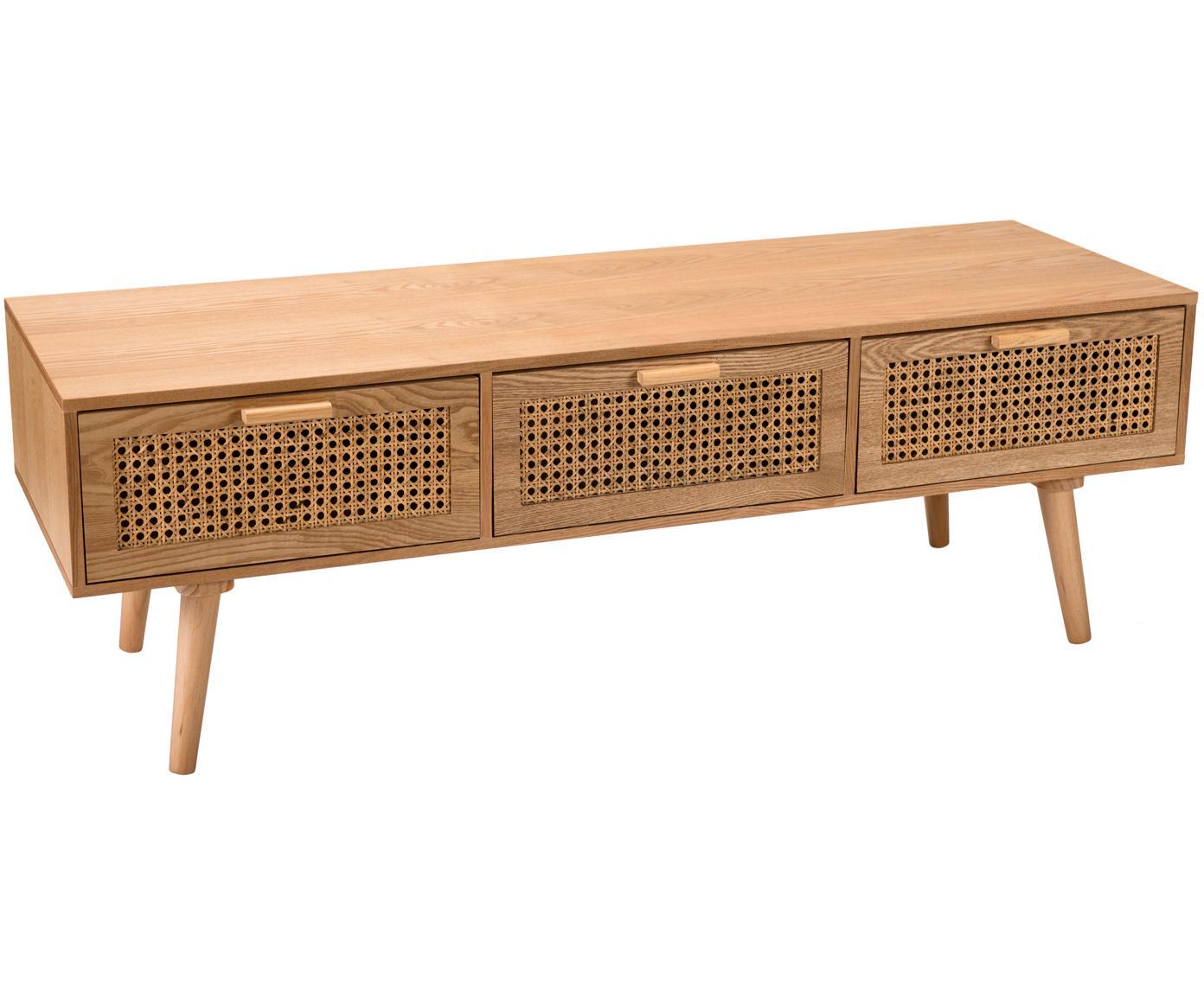 Mobile TV in legno con cassetti Romeo, Pannello di fibra a media densità (MDF), con finitura in frassino, Legno di frassino, Larg. 120 x Alt. 40 cm
