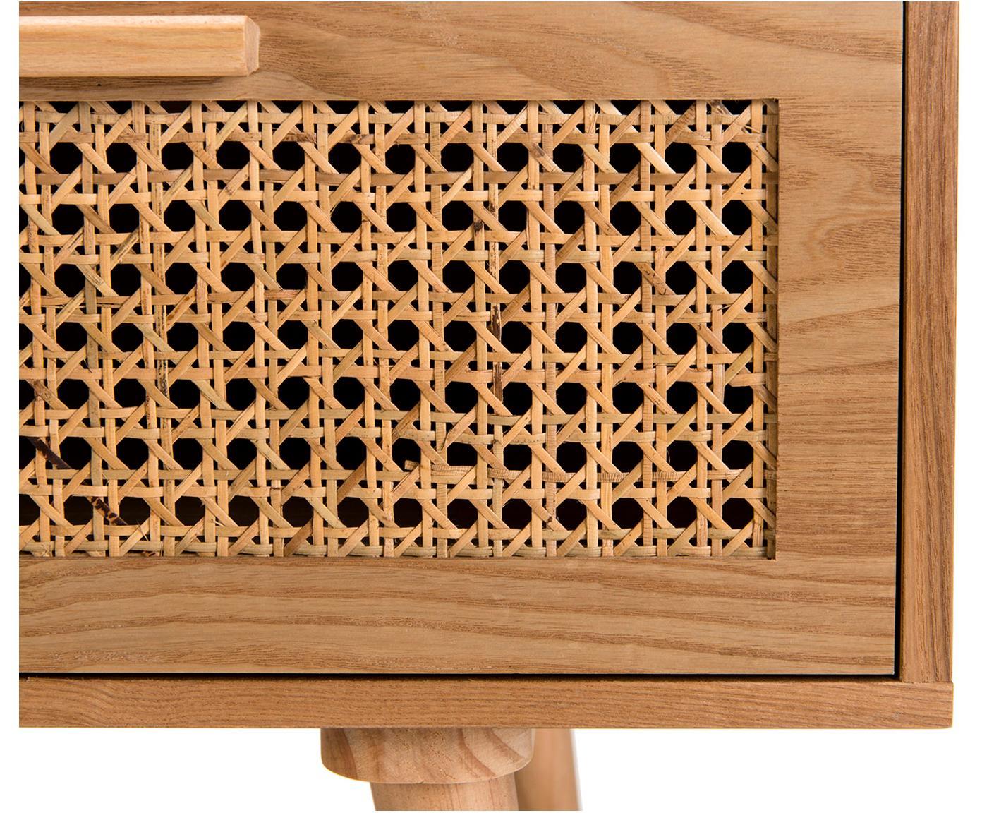 Mobile TV in legno con intreccio viennese Romeo, Pannello di fibra a media densità (MDF), con finitura in frassino, Legno di frassino, Larg. 120 x Alt. 40 cm