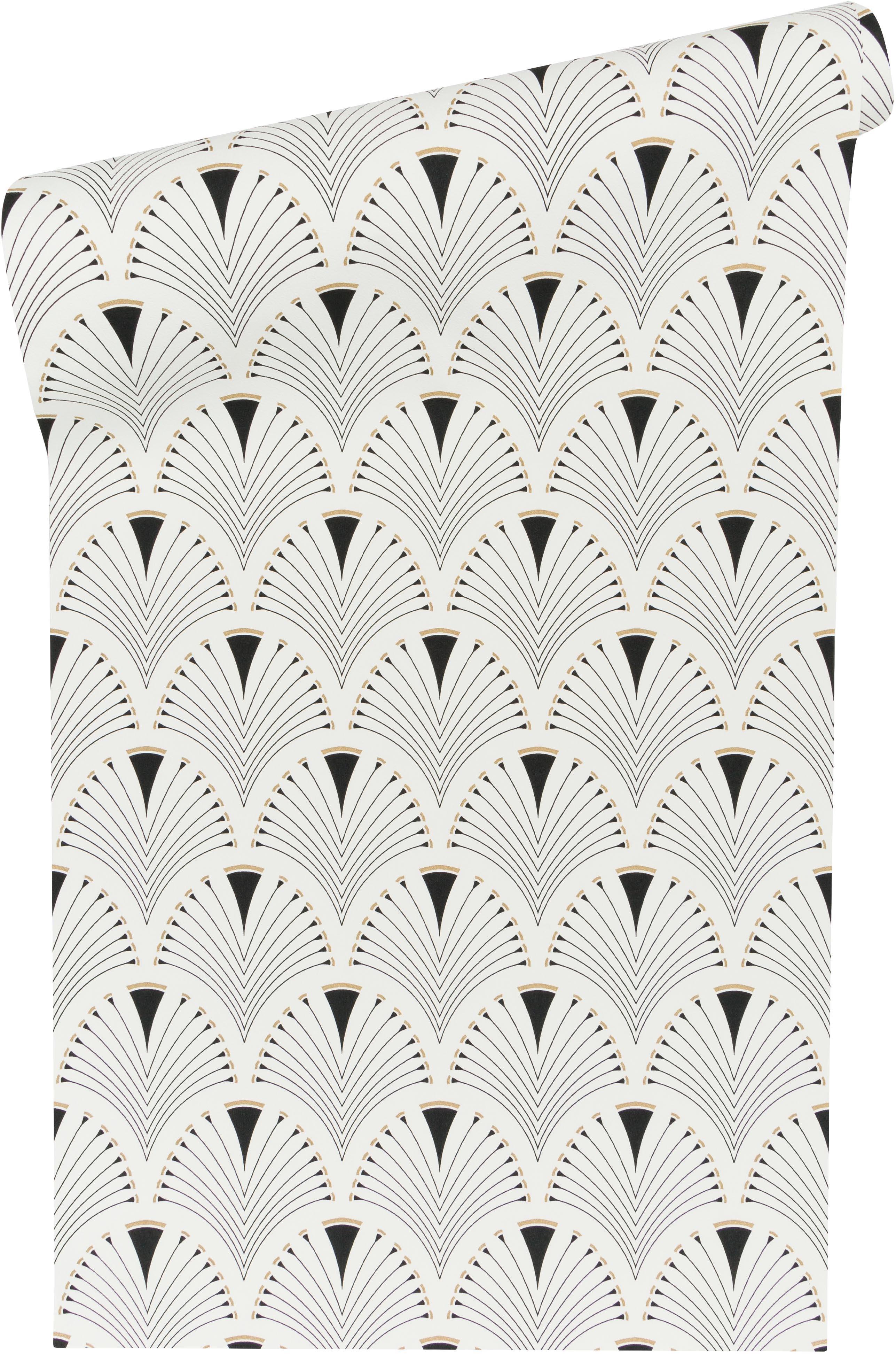 Carta da parati Peacock, Tessuto non tessuto, Bianco, nero, dorato, lucido, Larg. 53 x Lung. 1005 cm