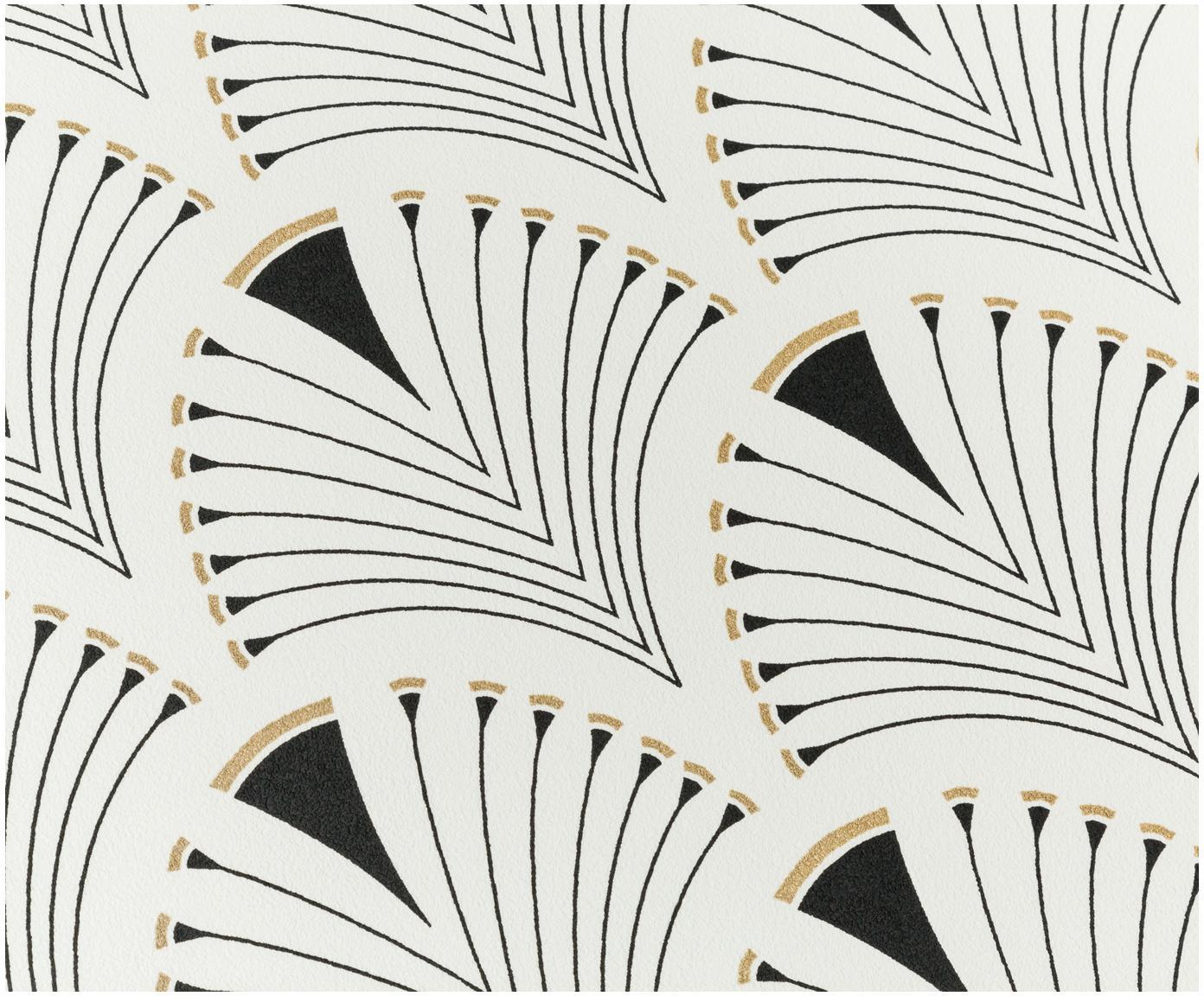 Tapeta Labyrinth, Włóknina, Biały, czarny, odcienie złotego, błyszczący, S 53 x D 1005 cm