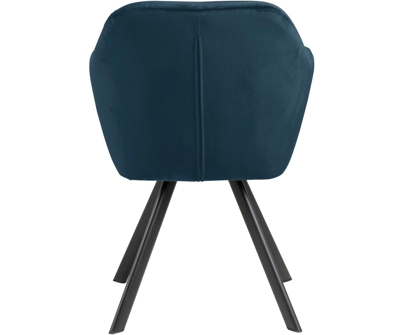 Obrotowe krzesło z podłokietnikami z aksamitu Lucie, Tapicerka: aksamit poliestrowy 2500, Nogi: metal malowany proszkowo, Ciemnyniebieski, czarny, S 58 x G 62 cm