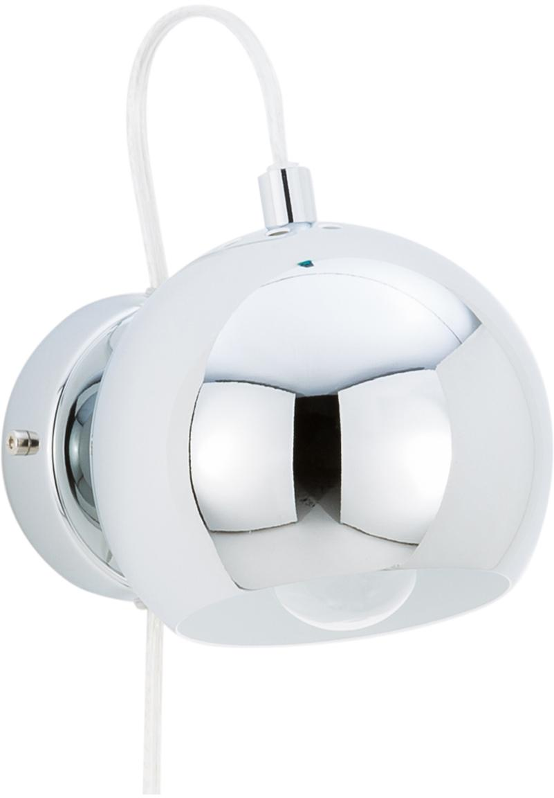 Wandleuchte Ball mit Stecker, Metall, verchromt, Chrom, hochglanz, 12 x 12 cm