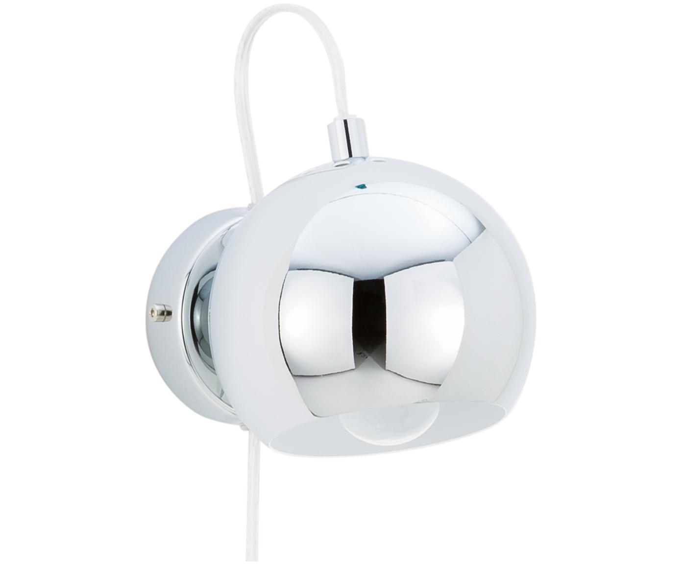 Wandlamp Ball met stekker, Verchroomd metaal, Chroomkleurig, hoogglans, 12 x 12 cm