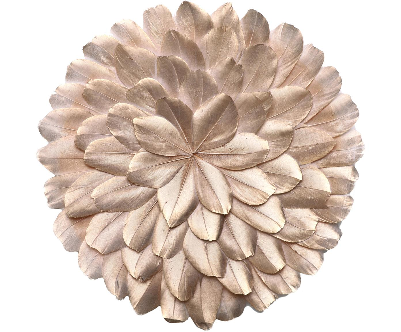 Wandobjecten Juju, 2 stuks, Geverfde veren, Goudkleurig, Ø 25 x D 3 cm