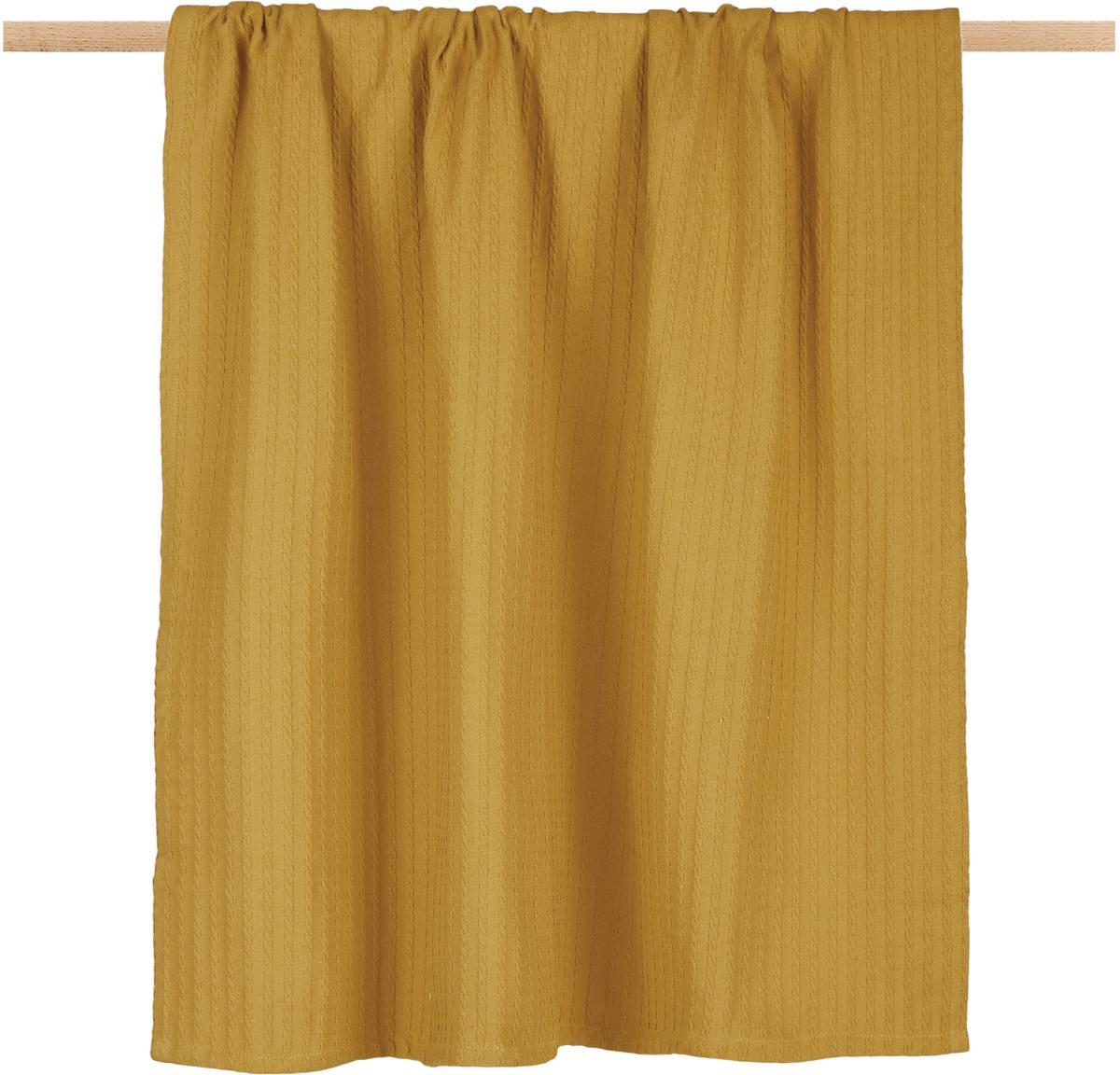 Plaid Pietro, 100% Baumwolle, Gelb, 125 x 150 cm