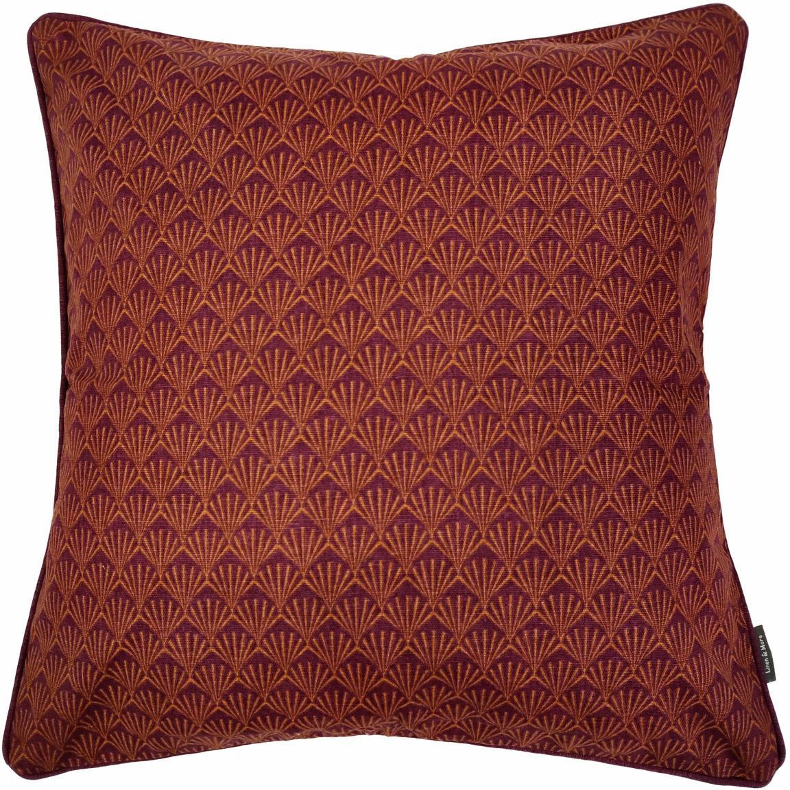 Kussen Feather met Artdeco patroon, met vulling, Bordeauxrood, oranje, 45 x 45 cm
