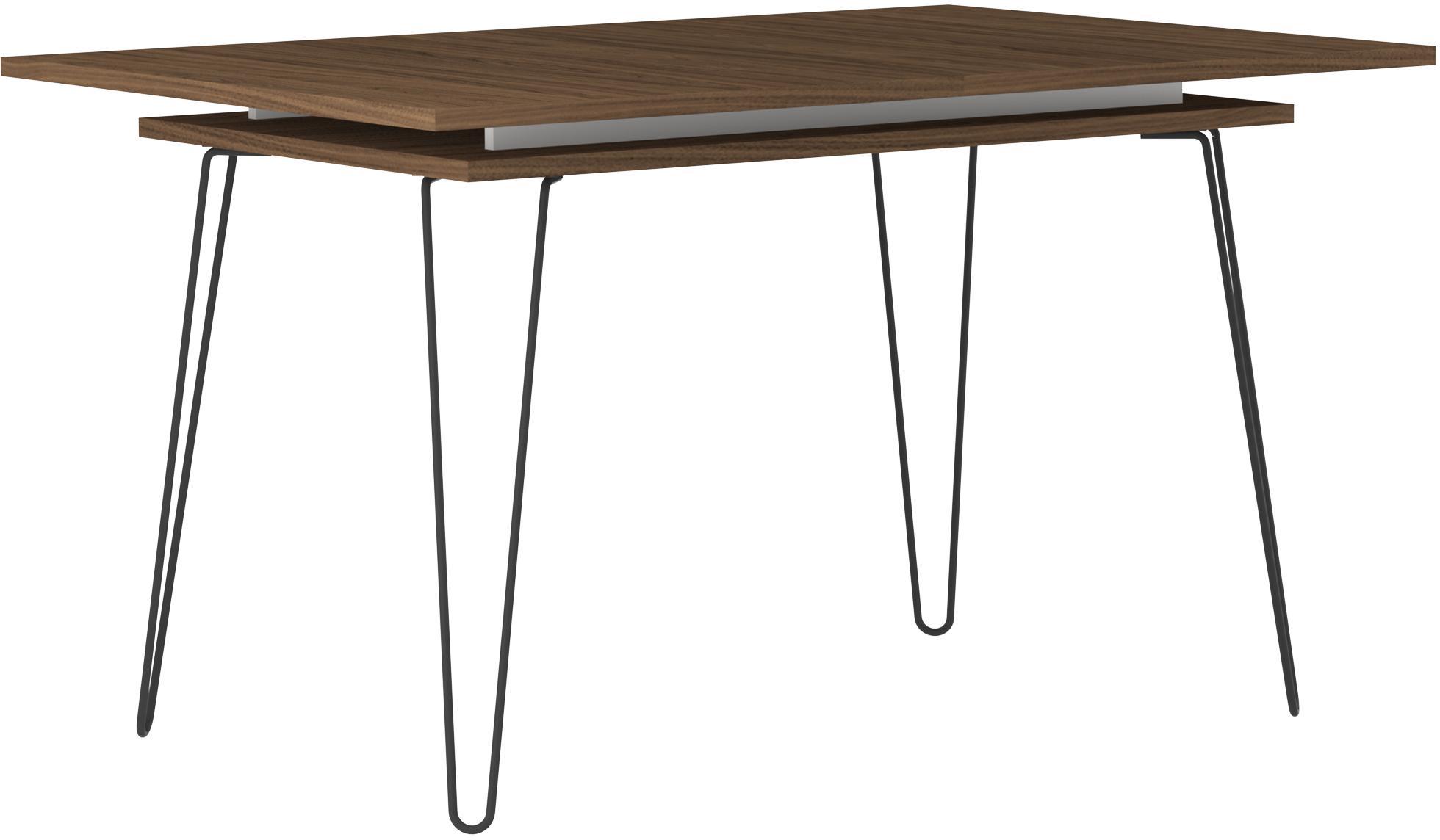 Tavolo allungabile Aero, Gambe: metallo verniciato, Legno di noce, Larg. 134 a 174 x Prof. 90 cm