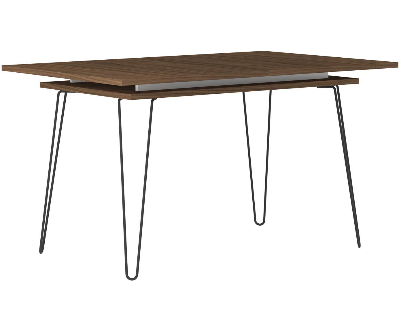 Mesa de comedor extensible Aero, Patas: metal pintado, Nogal, An 134-174 x F 90 cm