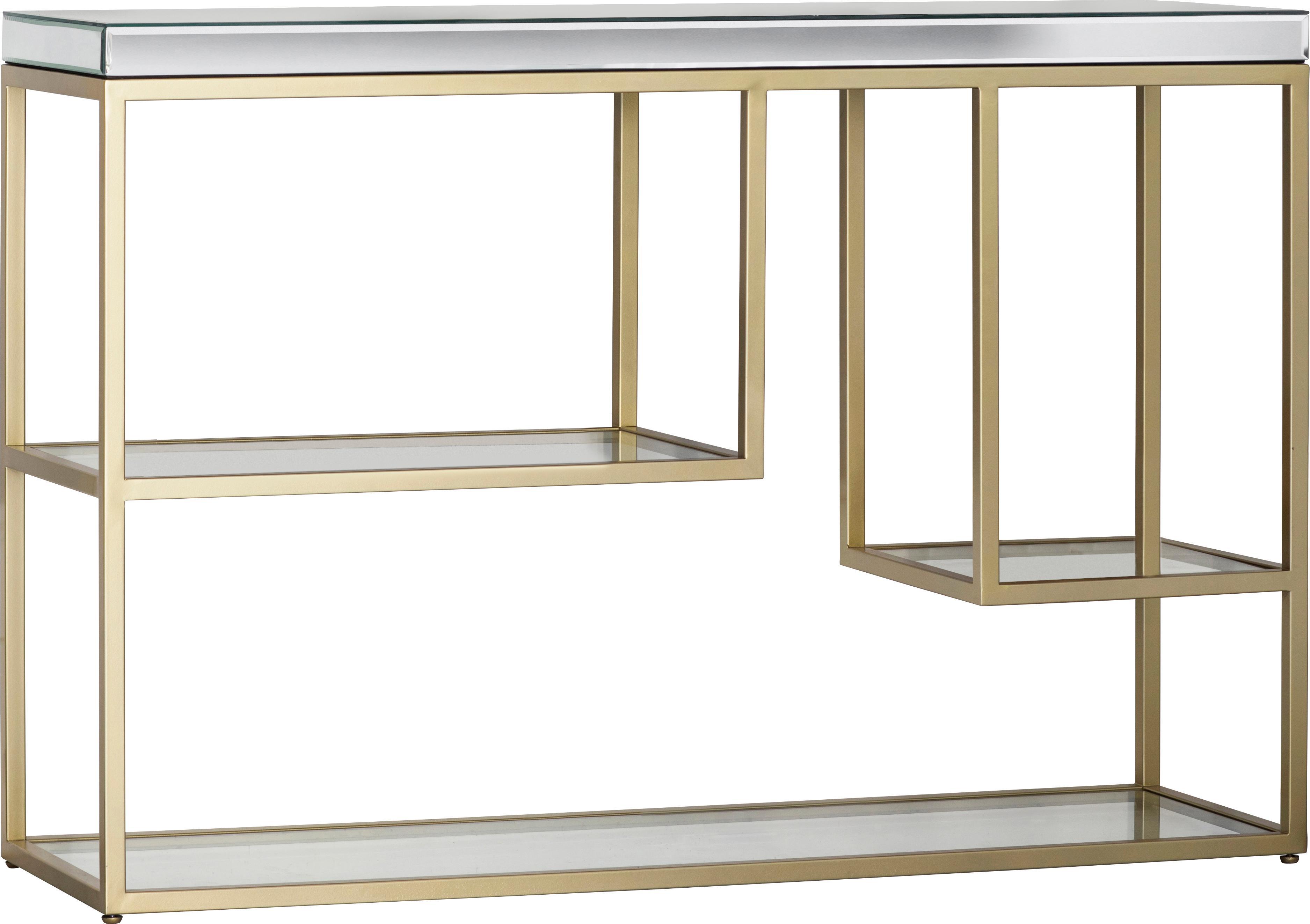 Konsola ze szklanym blatem i półkami Pippard, Stelaż: metal lakierowany, Odcienie szampańskiego, transparentny, S 120 x W 82 cm