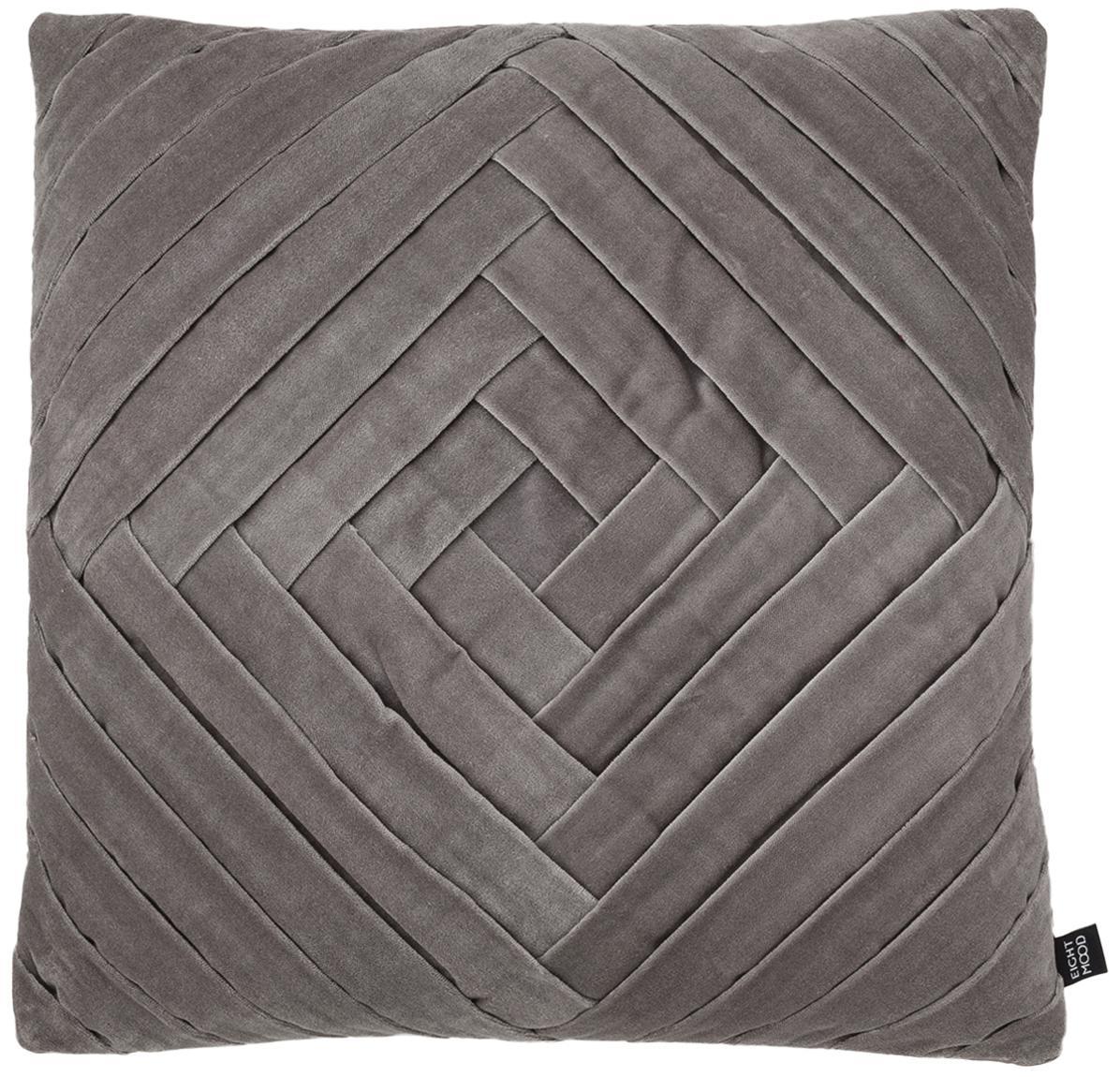 Cuscino in velluto Marisa, Rivestimento: 100% cotone, Grigio scuro, Larg. 45 x Lung. 45 cm