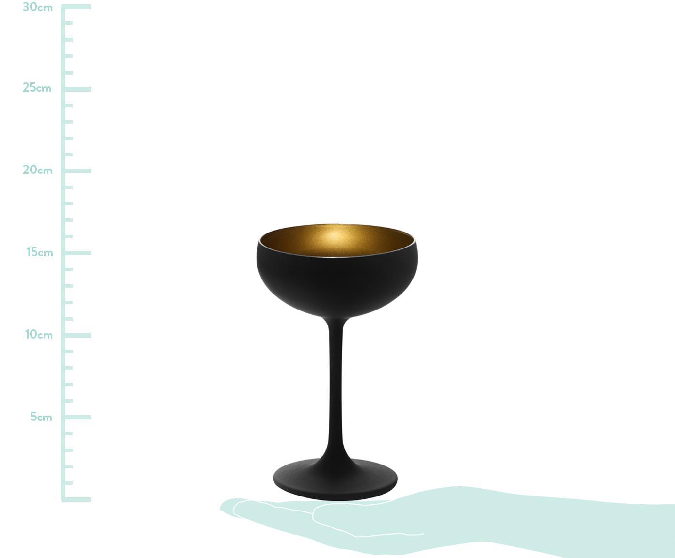 Coupes à champagne en cristal mat Elements, 6 pièces, Noir, couleur laitonnée