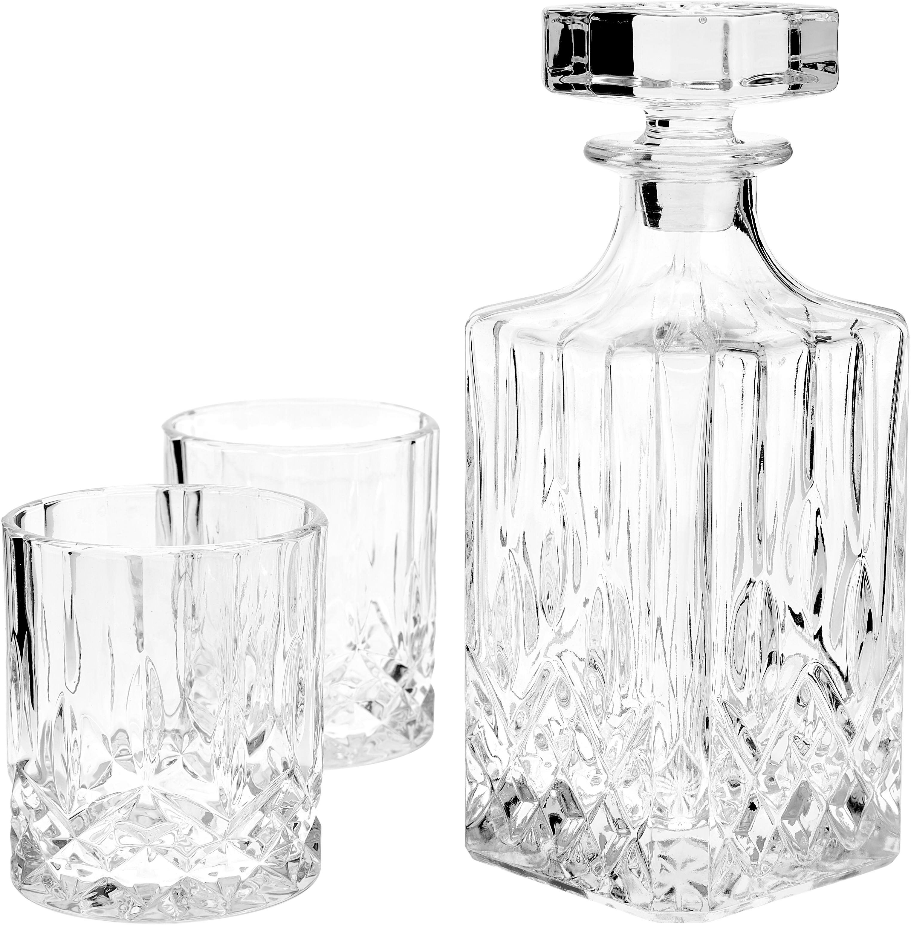 Whisky-Set George mit Kristallrelief, 3 tlg., Glas, Transparent, Ø 8 x H 22 cm
