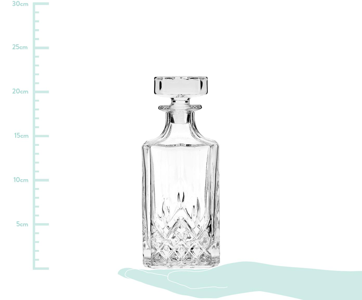 Whisky-Set George mit Kristallrelief, 3 tlg., Glas, Transparent, Ø 8 x H 22 cm