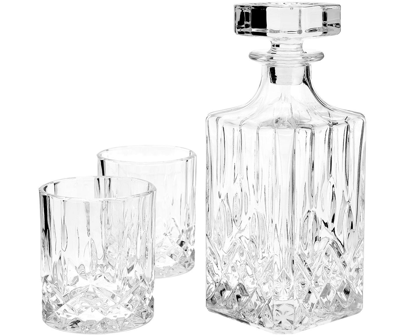 Set de whisky George, 3pzas., Vidrio, Transparente, Tamaños diferentes