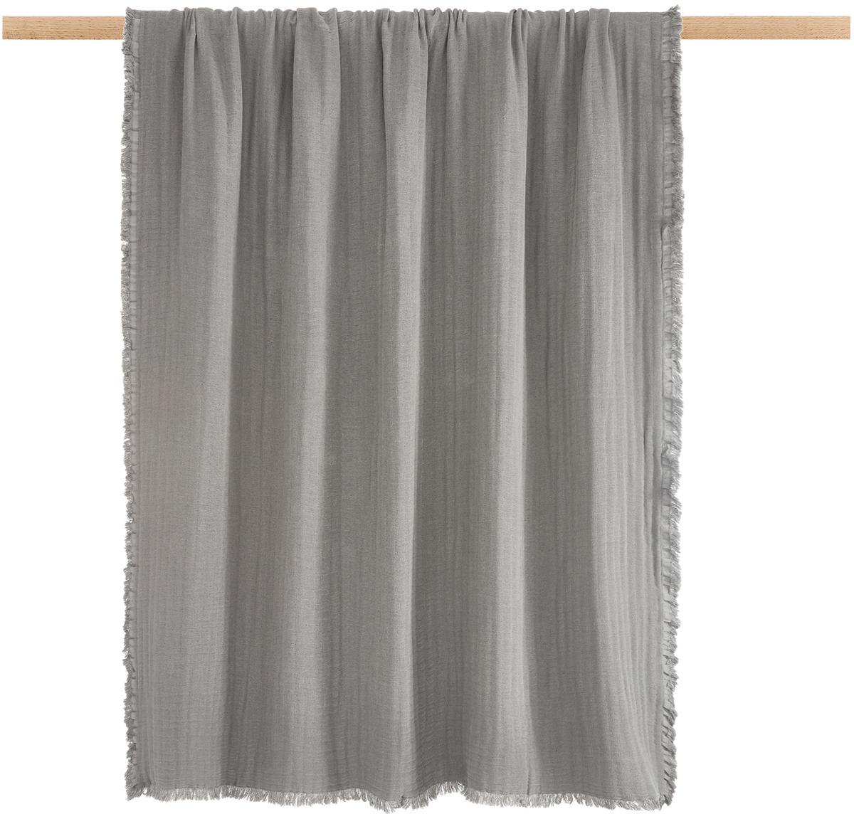 Plaid Vanly aus weichem Baumwollmusselin, 100% Baumwollmusselin, Dunkelgrau, 130 x 180 cm