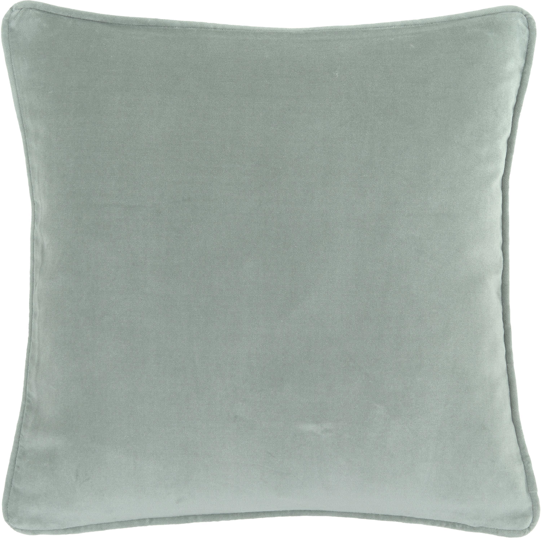 Federa arredo in velluto in verde salvia Dana, Velluto di cotone, Verde salvia, Larg. 50 x Lung. 50 cm