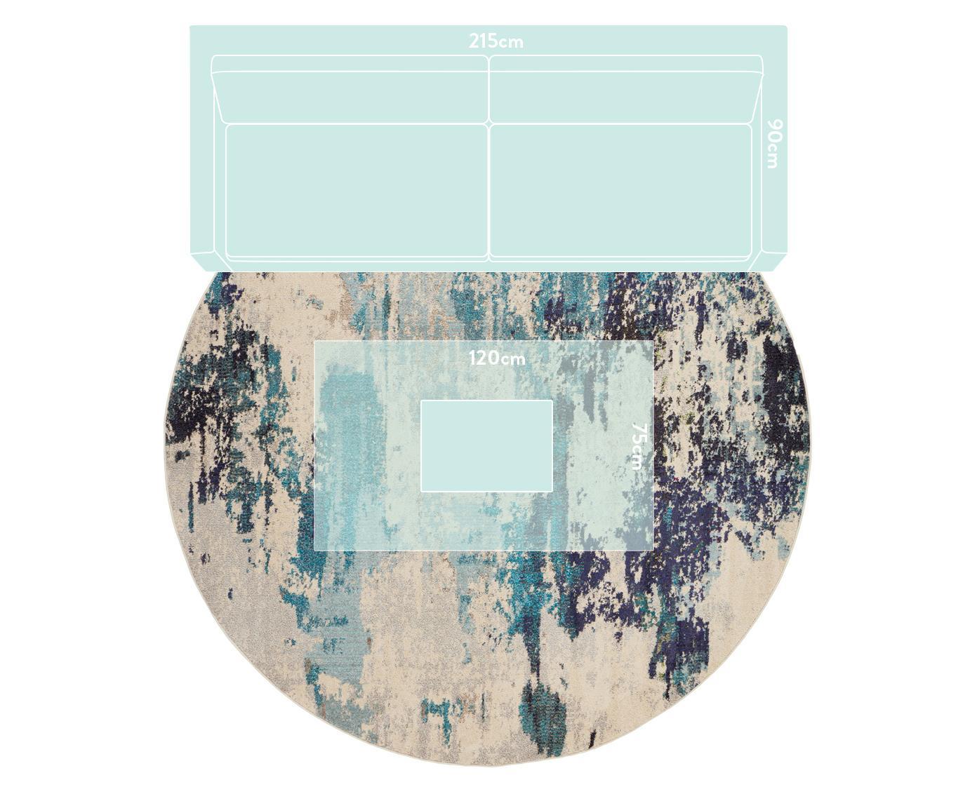 Runder Designteppich Celestial in Blau-Creme, Flor: 100% Polypropylen, Elfenbeinfarben, Blautöne, Ø 240 cm (Größe XL)