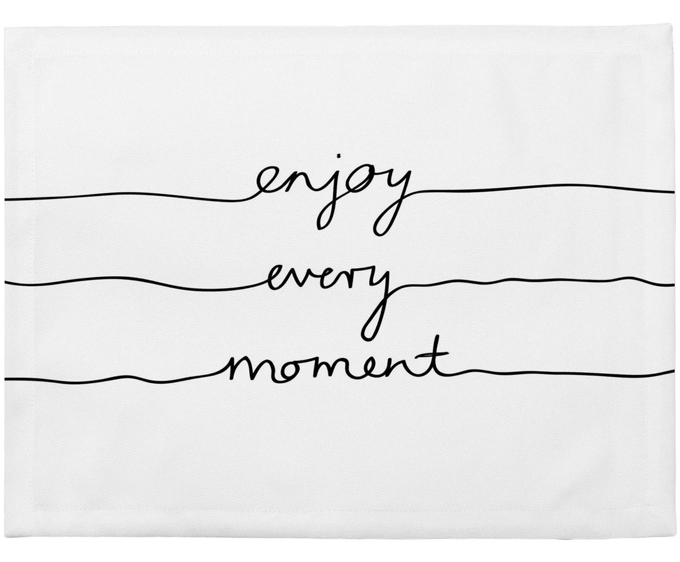 Placemats Enjoy every Moment, 4 stuks, Polyester, Wit met zwarte vlekken, 35 x 45 cm