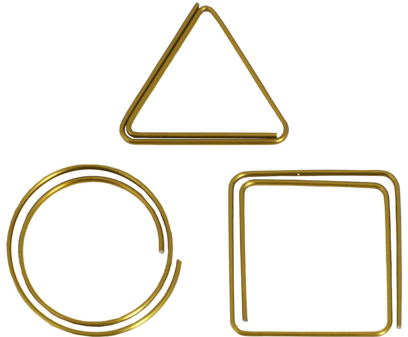 Bureauklemmenset Geometria, 9-delig, Gelakt metaal, Messingkleurig, 3 x 3 cm