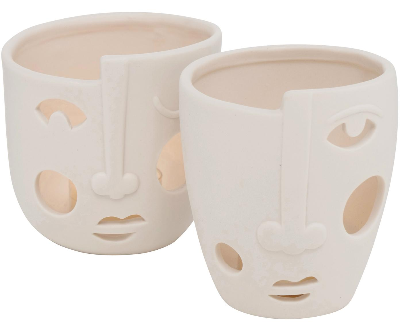 Set de portavelas Faces, 2 pzas., Porcelana, Blanco, Ø 9 x 9 cm
