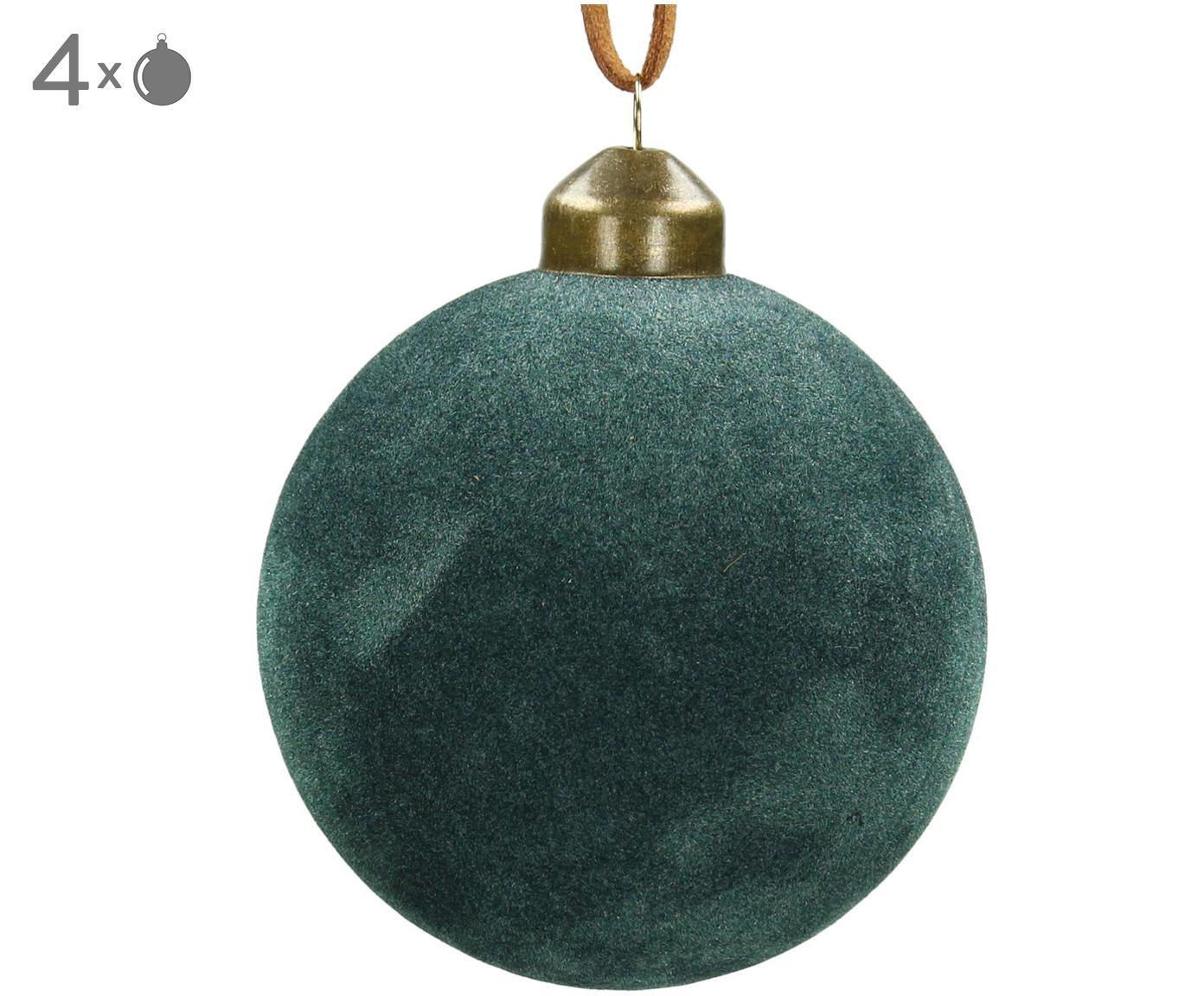 Kerstballen Velvet, 4 stuks, Glas, polyesterfluweel, Blauwgroen, Ø 8 cm