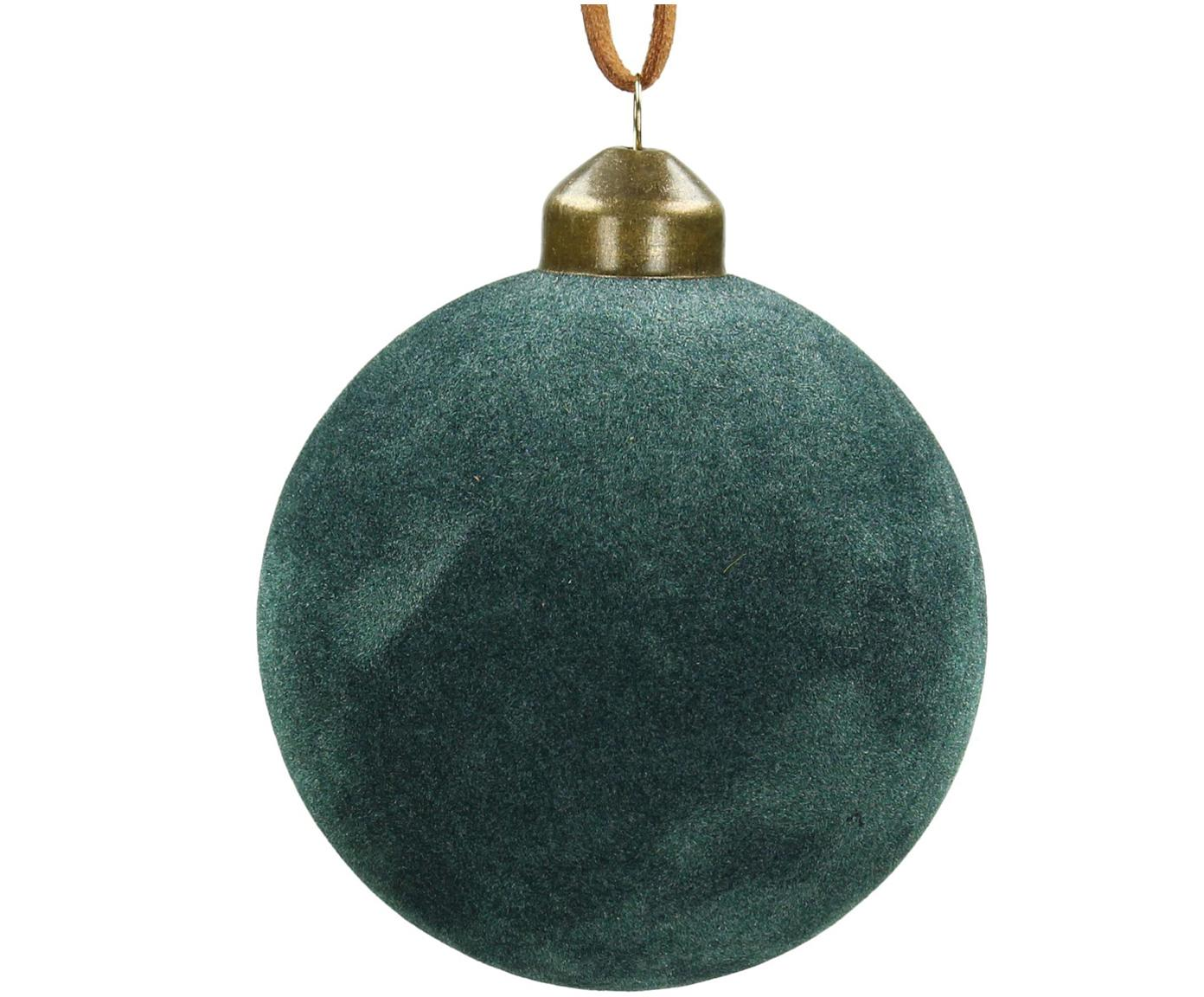 Weihnachtskugeln Velvet Ø8cm, 4Stück, Glas, Polyestersamt, Blaugrün, Ø 8 cm