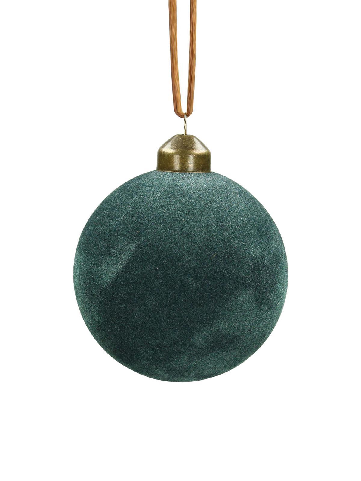 Palla di Natale Velvet Ø 8 cm, 4 pz, Vetro, velluto di poliestere, Blu verde, Ø 8 cm