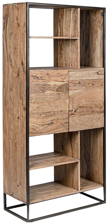 Estantería Egon, Estructura: madera de acacia con pint, Acacia, negro, An 88 x Al 193 cm