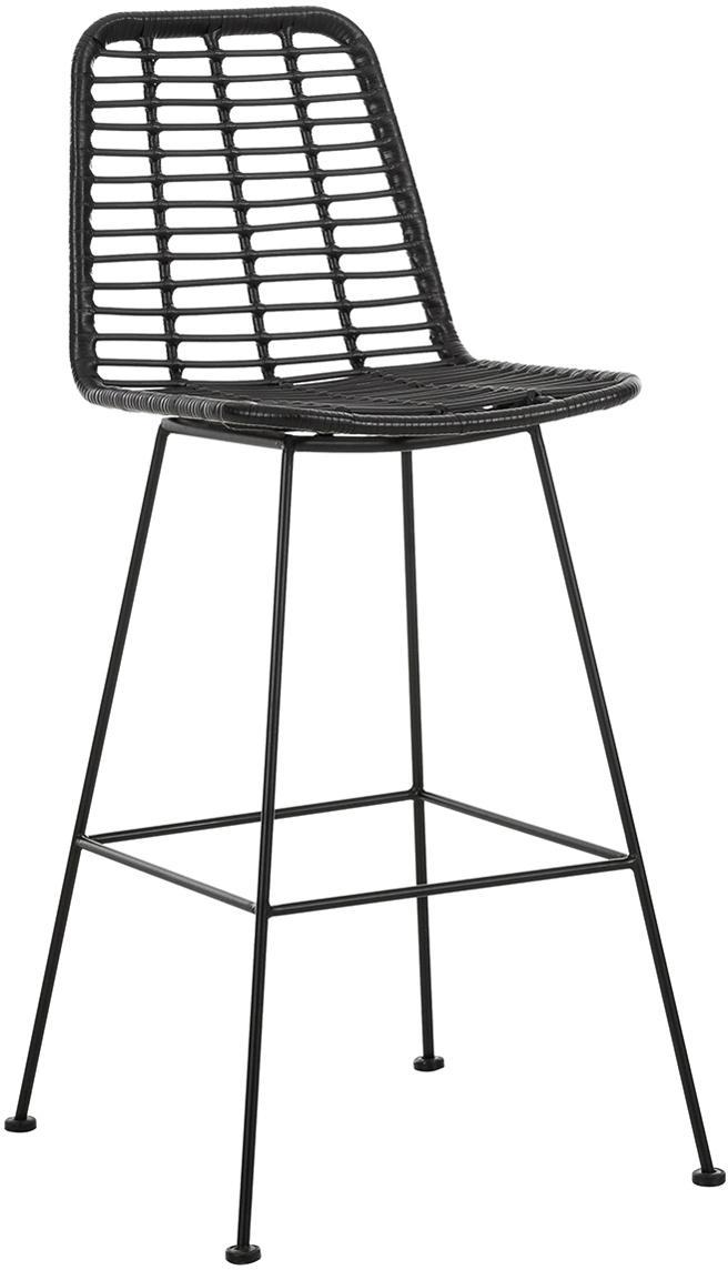 Taburete de bar de mimbre Sola, Asiento: red de polietileno, Estructura: metal con pintura en polv, Negro, An 56 x Al 98 cm