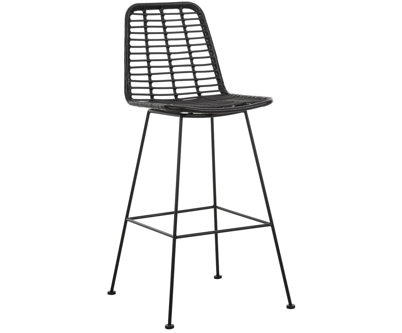 Barstoel Sola, Zitvlak: polyethyleen-vlechtwerk, Frame: gepoedercoat metaal, Zwart, 56 x 98 cm