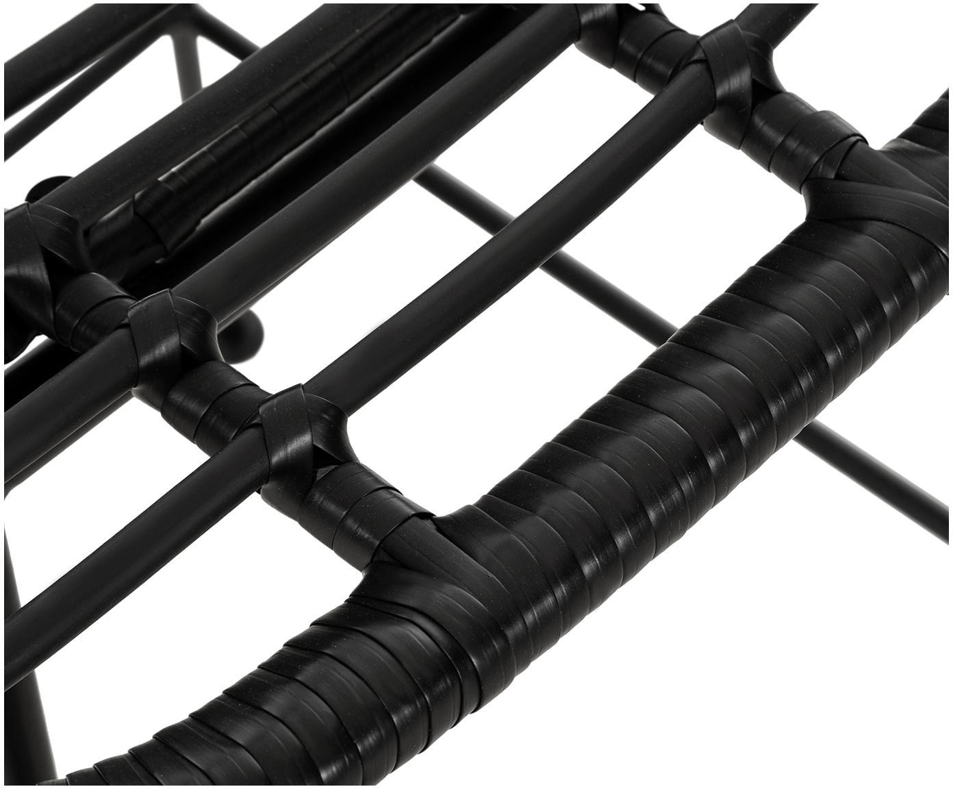 Polyrattan-Barstuhl Costa, Sitzfläche: Polyethylen-Geflecht, Gestell: Metall, pulverbeschichtet, Schwarz, 56 x 98 cm