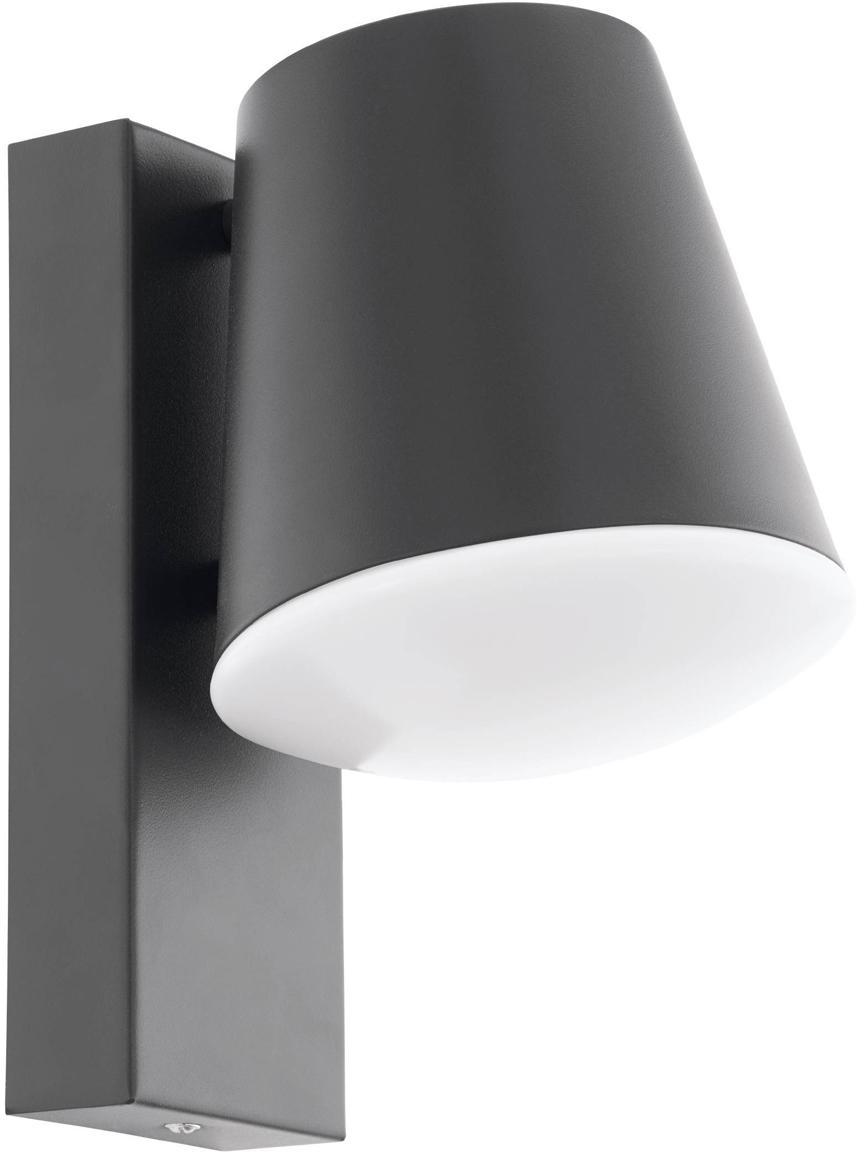 Outdoor wandlamp Caldiero, Lampenkap: Verzinkt staal, Diffuser: kunststof, Antraciet, 14 x 24 cm