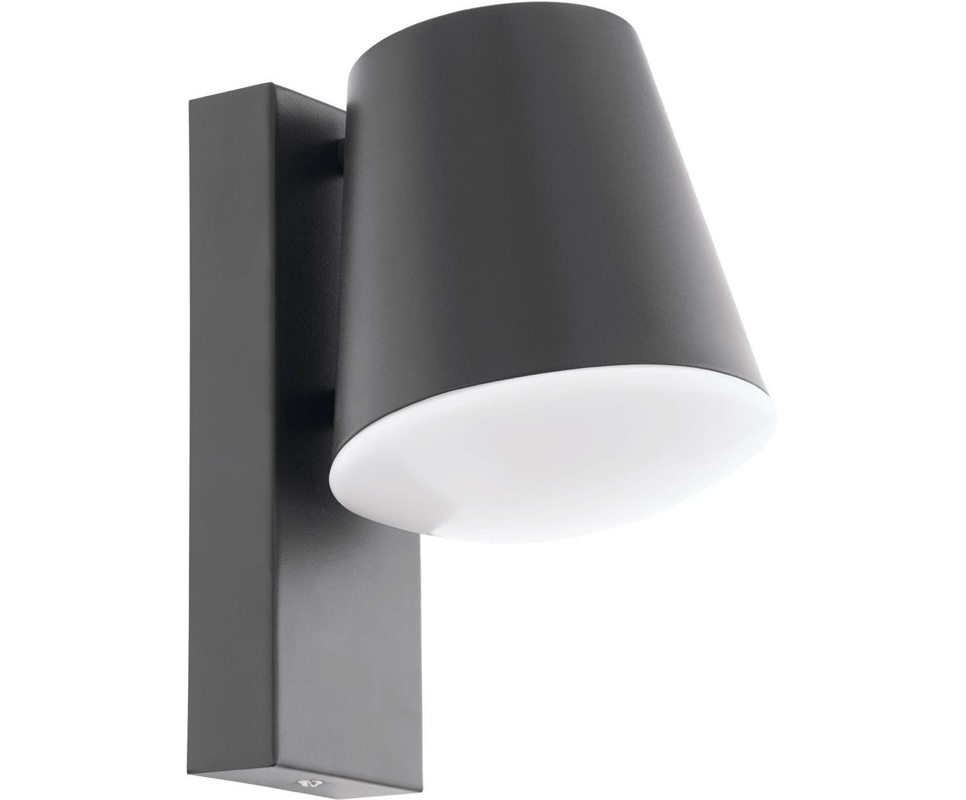 Outdoor wandlamp Caldiero, Verzinkt staal, kunststof, Antraciet, 14 x 24 cm