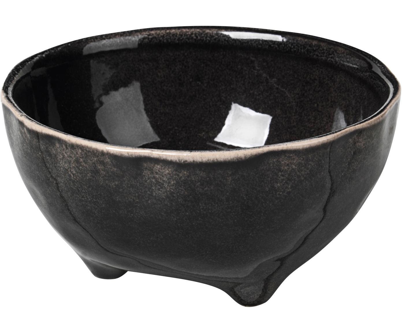 Cuencos artesanales Nordic Coal, 4uds., Gres, Marrón negruzco, Ø 11 cm