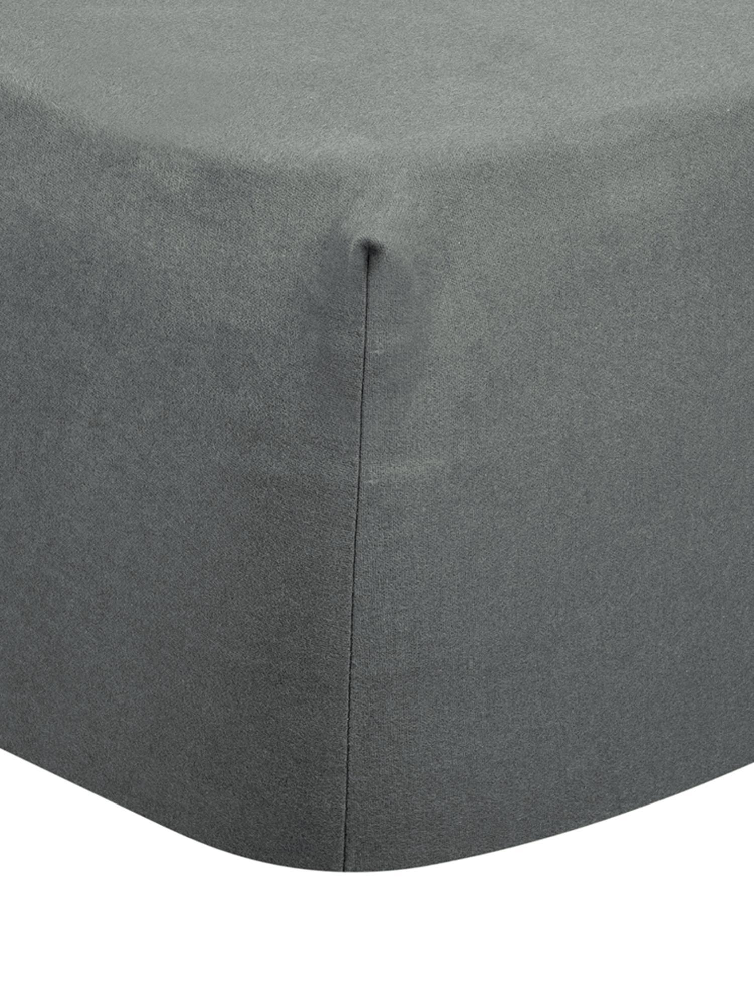 Hoeslaken Biba in donkergrijs, flanel, Weeftechniek: flanel, Donkergrijs, 90 x 200 cm