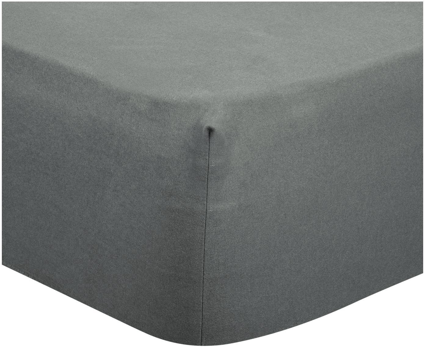 Lenzuolo con angoli in flanella Biba, Tessuto: flanella, Grigio scuro, Larg. 90 x Lung. 200 cm