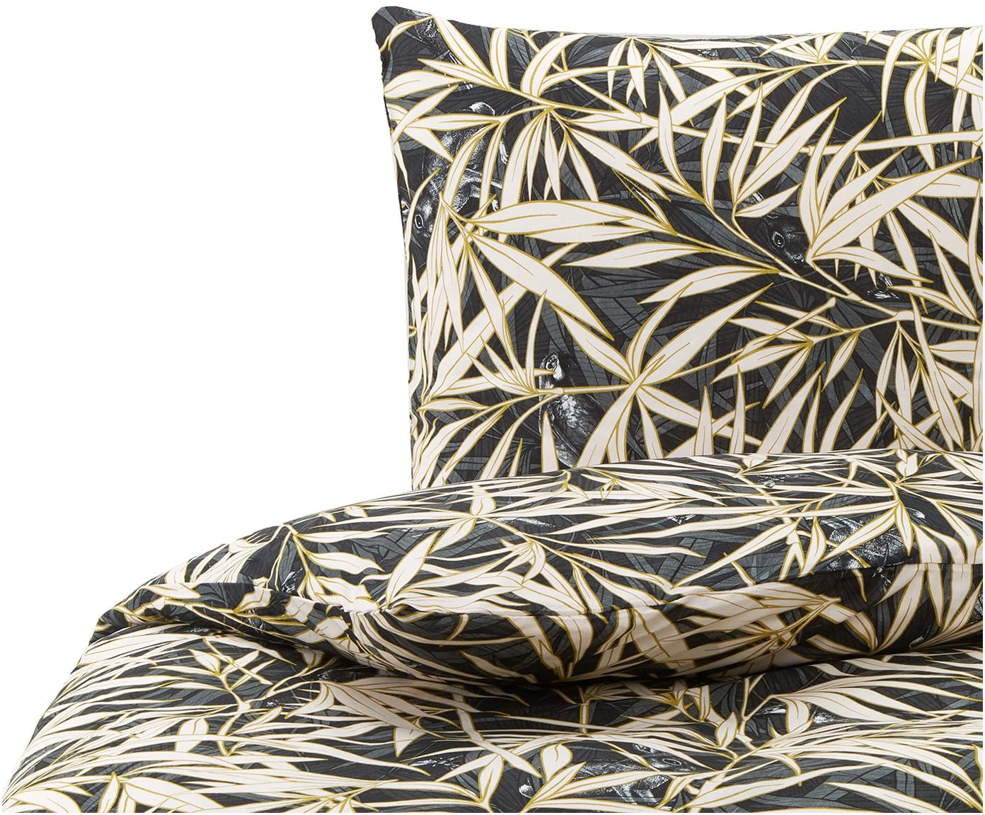 Baumwoll-Bettwäsche Hy Spy mit tropischem Print, 100% Baumwolle  Fadendichte 144 TC, Standard Qualität  Bettwäsche aus Baumwolle fühlt sich auf der Haut angenehm weich an, nimmt Feuchtigkeit gut auf und eignet sich für Allergiker., Grüntöne, Creme, 135 x 200 cm + 1 Kissen 80 x 80 cm
