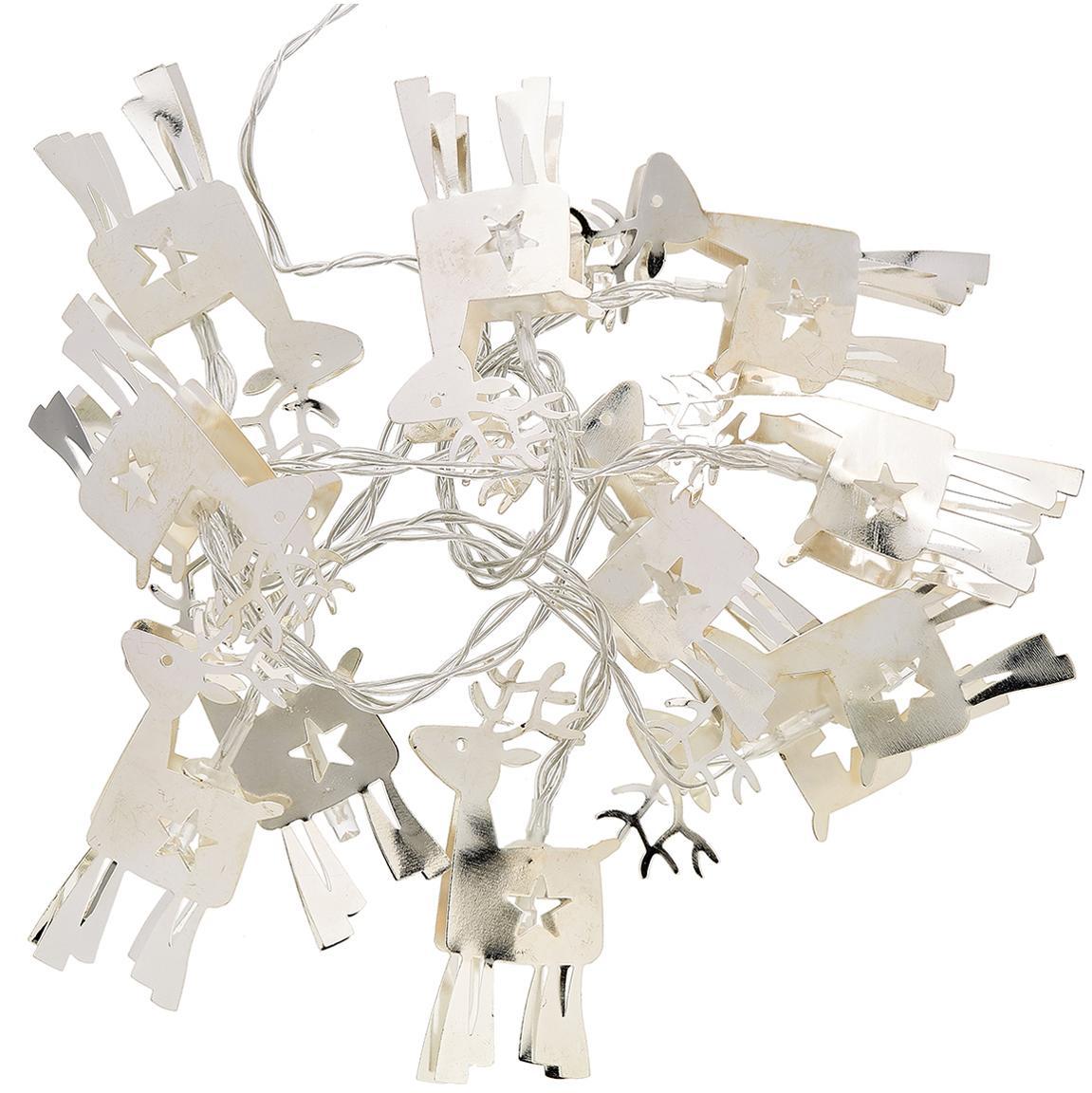 LED Lichterkette Reindeer, Metall, beschichtet, Silberfarben, L 165 x H 15 cm