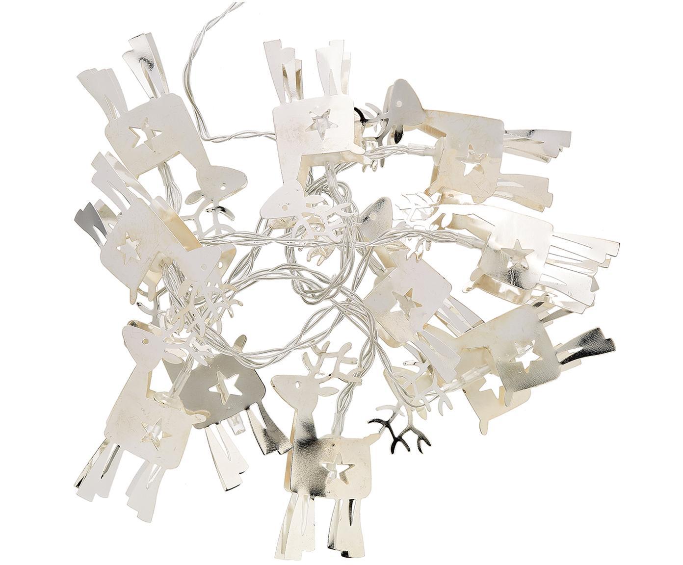LED lichtslinger Reindeer, Gecoat metaal, Zilverkleurig, L 165 x H 15 cm