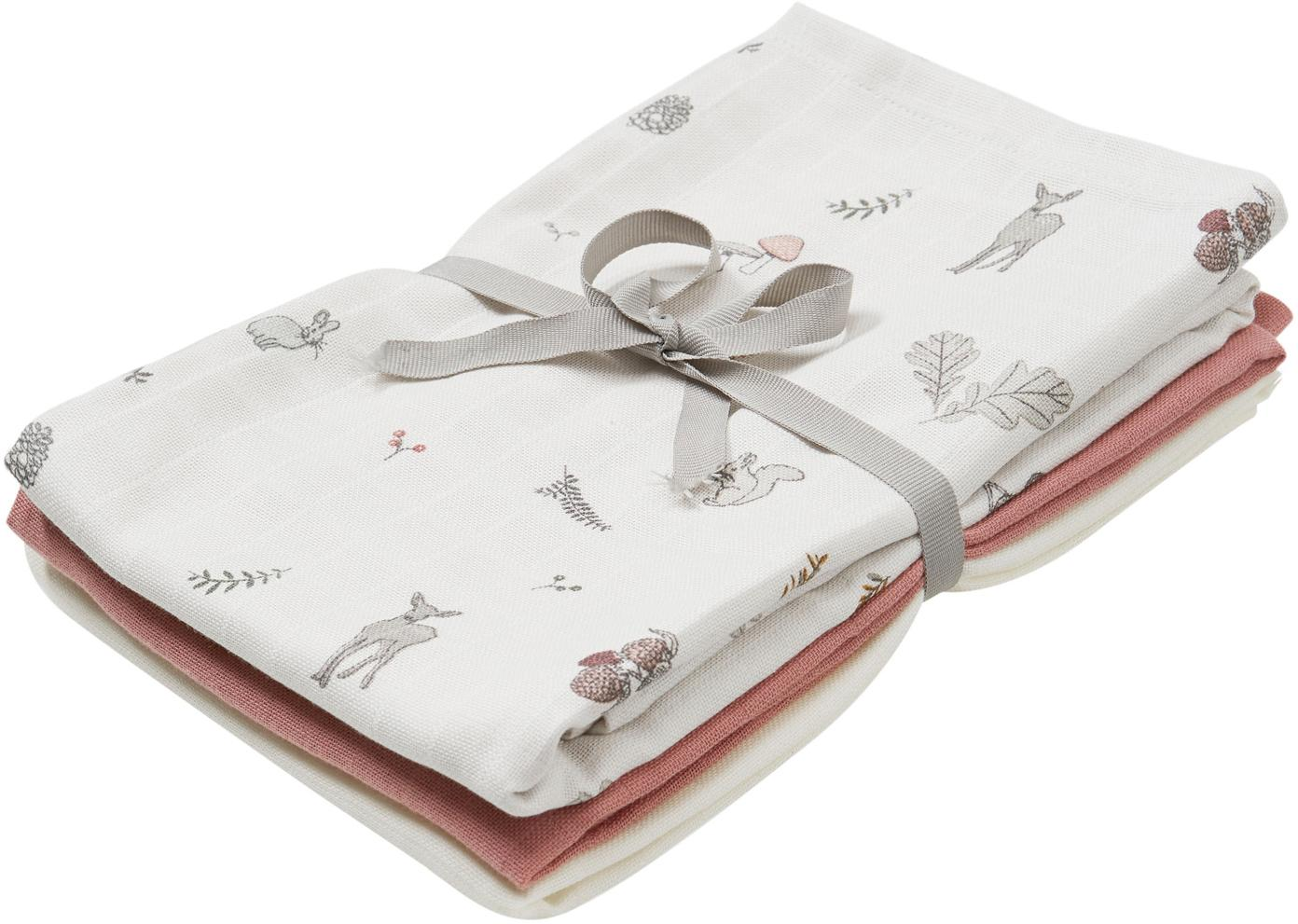 Set de pañales de tela Fawn, 3pzas., Algodón orgánico, Blanco, marrón, beige, amarillo, rosa, verde, An 70 x L 70 cm