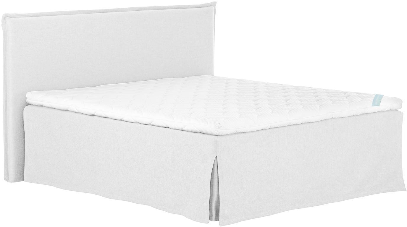 Premium Boxspringbett Violet, Matratze: 7-Zonen-Taschenfederkern , Füße: Massives Buchenholz, lack, Helles Weiß-Grau, 140 x 200 cm
