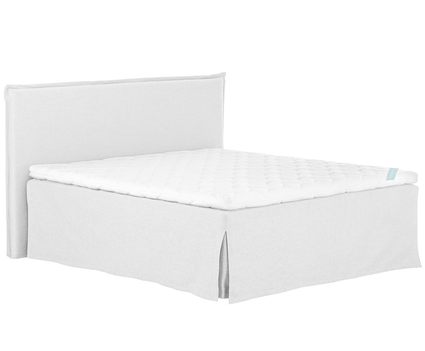 Premium boxspring bed Violet, Matras: 7-zones-pocketveringkern , Poten: massief gelakt beukenhout, Licht witgrijs, 140 x 200 cm