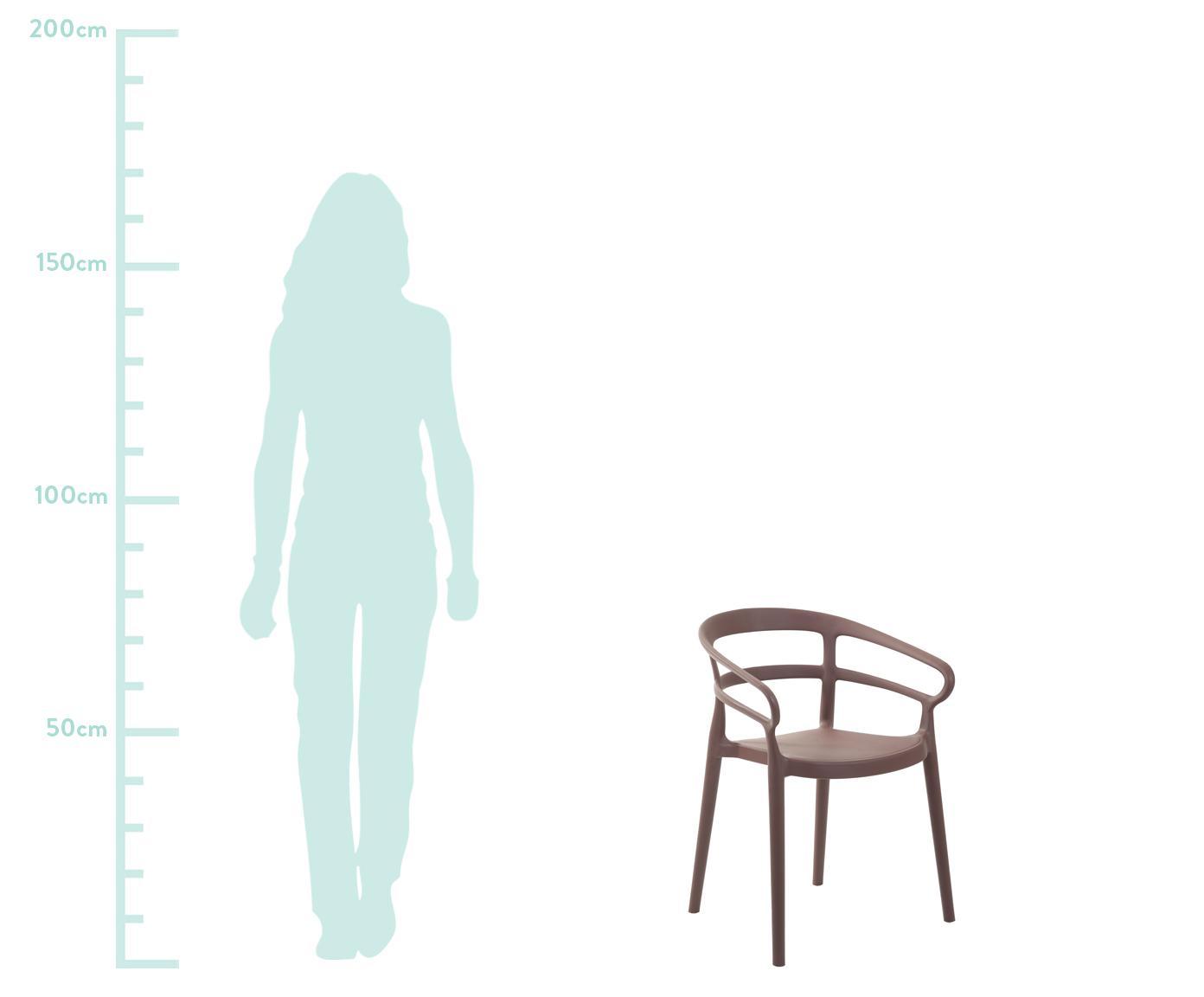 Krzesło z tworzywa sztucznego z podłokietnikami Rodi, 2 szt., Polipropylen, Brązowy, S 52 x G 57 cm