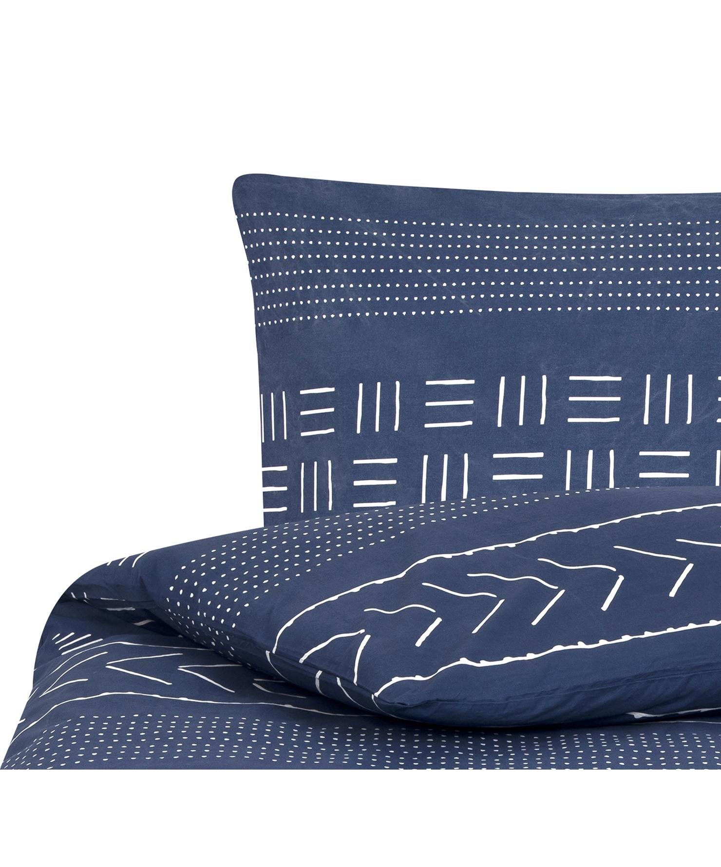 Pościel z bawełny z efektem sprania Kohana, Ciemny niebieski, ecru, 135 x 200 cm