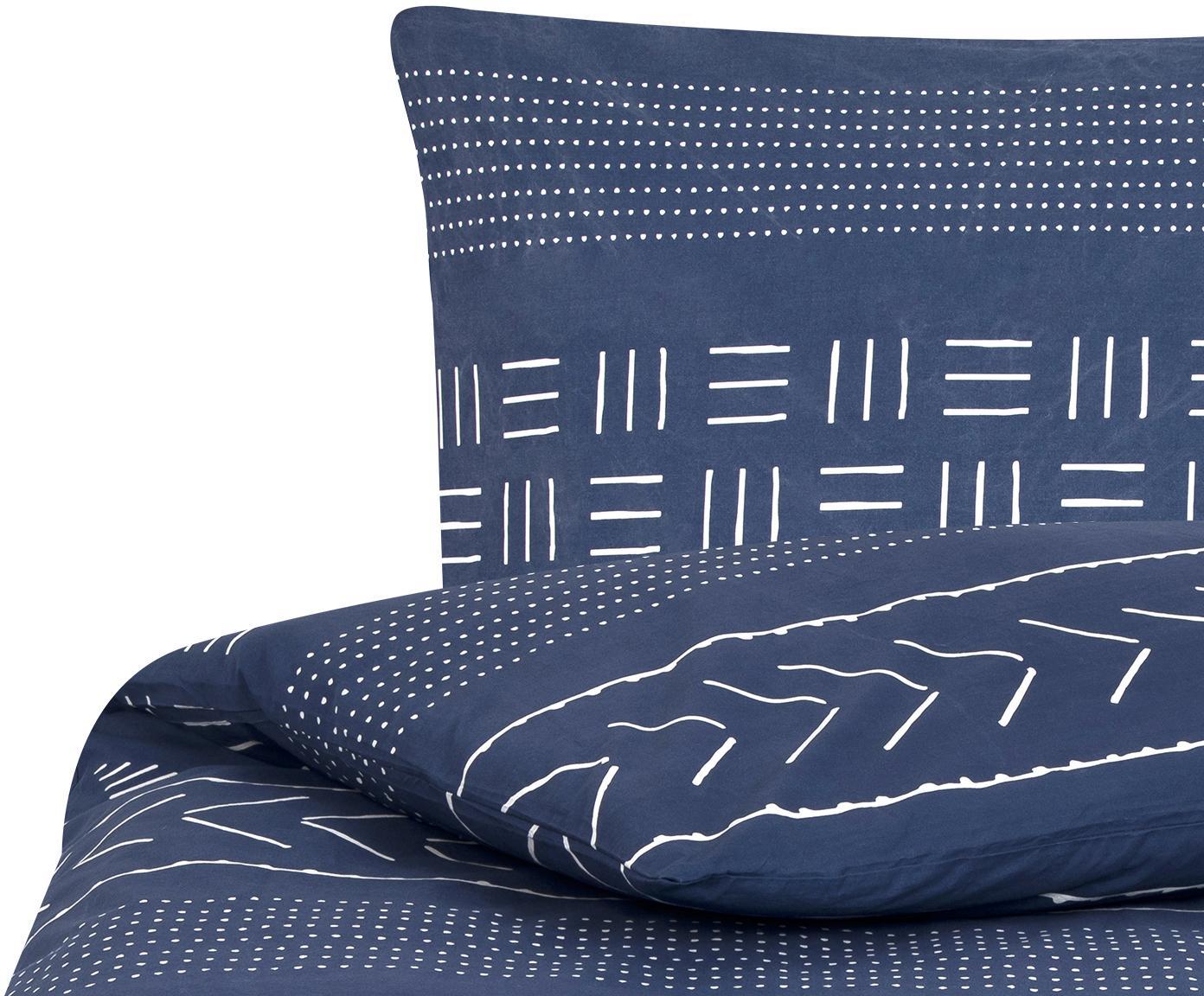 Gewaschene Baumwoll-Bettwäsche Kohana im Boho Style, Webart: Perkal Fadendichte 180 TC, Dunkelblau, Ecru, 135 x 200 cm + 1 Kissen 80 x 80 cm
