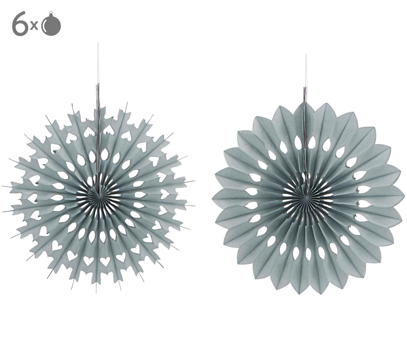 Set de decoraciones colgantes Cut, 6 elem., Papel, Gris, Ø 20 cm
