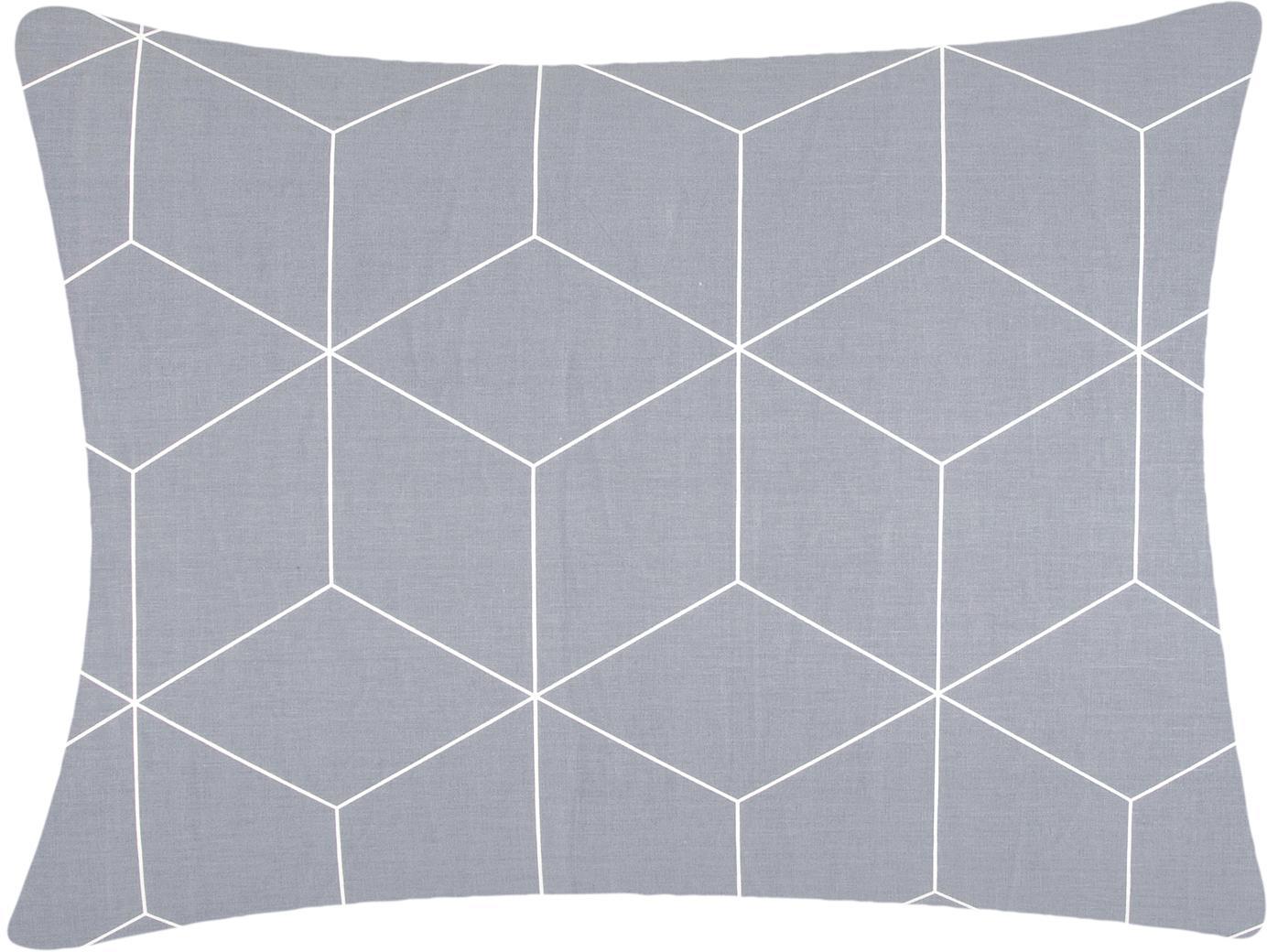 Funda de almohada de tejido renforcé Lynn, Gris, blanco crema, An 50 x L 70 cm
